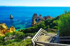 Wooden walkway to beautiful beach Praia do Camilo, Portugal Royalty Free Stock Photography