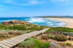 Wooden walkway to Praia do Bordeira beach Stock Image