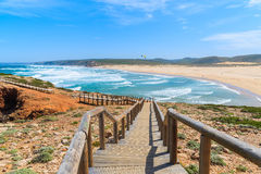 Wooden walkway to Praia do Bordeira beach Royalty Free Stock Photography