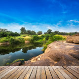 Wooden walkway at view point Stock Photo