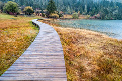 Wooden walkway in winter Royalty Free Stock Images