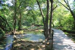 Wooden footbridge in the natural Park Krka stock photo