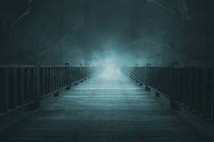 Wooden walkways with thick fog royalty free stock photo