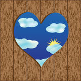 Wooden wall. With a hole in heart shape Vector Illustration