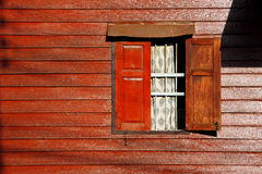 Wooden wall. Open window on wooden wall, in Thai style house,Thailand royalty free stock photos