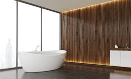 Wooden wall bathroom Stock Photography