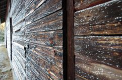 A wooden wall of a cabin. A wooden wall of a lost cabin in the forest somewhere in Sweden royalty free stock photography