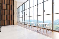 Wooden wall cafe interior. Wooden wall restaurant interior with white tables and stylish chairs. Concept of quality time with a family and business discussion Royalty Free Stock Images