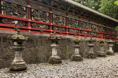 Wooden wall with carvings at Nikko Tosho-gu Royalty Free Stock Image