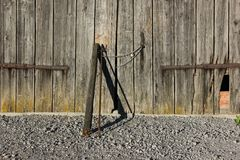 Wooden wall and chain lock Stock Image