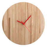 Wooden wall clock isolated on white - watch on white background. Wooden wall clock isolated on white - watch royalty free stock photos