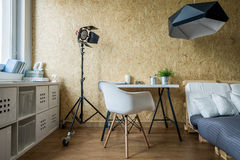 Wooden wall in contemporary bedroom Royalty Free Stock Photo
