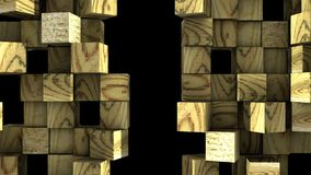 Wooden Wall of cubes divide. Wooden Wall of cubes is divided into separate blocks and moves apart in opposite directions. Abstract transition, 3D animated intro vector illustration