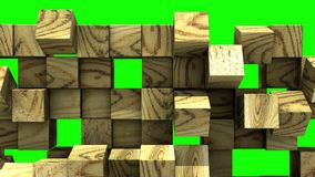 Wooden Wall of cubes falls apart. Blocks are moving out of flat surface and fall revealing the green screen. Abstract transition, 3D animated intro with chroma stock illustration