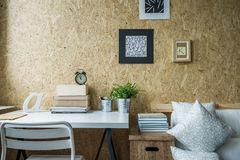 Wooden wall in designed room Royalty Free Stock Photo