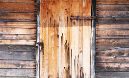 Wooden wall and doors locked Royalty Free Stock Image