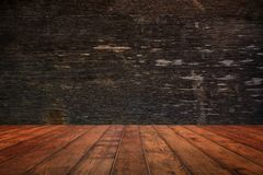 Wooden wall and floor in perspective view, grunge background. fo. R put product on the floor, display backdrop Royalty Free Stock Image