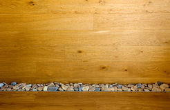 Wooden Wall and Floor with Stones line Stock Image