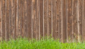 Wooden wall and grass Royalty Free Stock Image