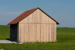 Wooden wall of a hut. Solid background of wooden planks on a hut in south germany Royalty Free Stock Photos