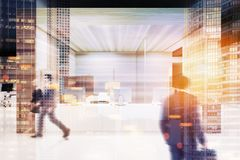 Wooden wall office, white reception blur Royalty Free Stock Photo