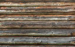 Wooden wall from logs old as background texture Royalty Free Stock Photos