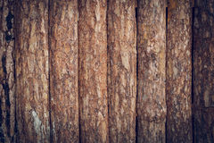 Wooden wall made from wood logs with bark texture Royalty Free Stock Images
