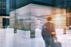 Wooden wall office, black ceiling side blur Stock Photography