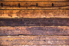Wooden wall of old house of brown color Royalty Free Stock Photography