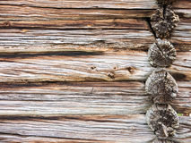 Wooden wall of old house in Sweden Stock Image