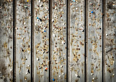 Wooden wall with old pins and staples. Vintage bulletin board. Wooden wall with old rusty pins and staples. Vintage bulletin board. Wood planks, boards are old Royalty Free Stock Photography