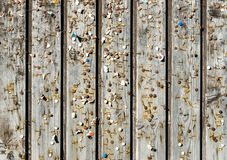 Wooden wall with old pins and staples. Vintage bulletin board. Wooden wall with old rusty pins and staples. Vintage bulletin board. Wood planks, boards are old Royalty Free Stock Photo