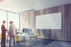Wooden Wall Open Office Interior, Poster, Men Royalty Free Stock Photo