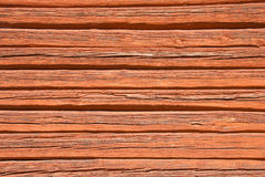Wooden wall painted with typical Swedish red color Stock Photo