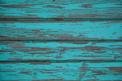 Wooden wall with peeling paint turquoise Royalty Free Stock Photos