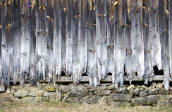 Wooden wall with rotted planks. Weather-beaten wooden wall with rotted planks, Lauterbach, Austria Royalty Free Stock Photography