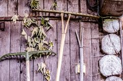 Wooden wall of rural hut with agricultural tools. Royalty Free Stock Photography