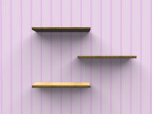 Wooden wall shelves Stock Photography