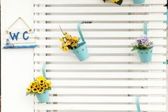 Wooden wall with shelves Stock Images