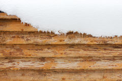 Wooden wall and snow Stock Photos