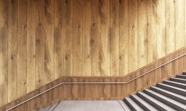 Wooden wall and stairs vector illustration