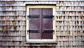 Wooden wall texture and window horizontal Royalty Free Stock Images
