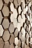 Wooden wall textured with hexagon Stock Image