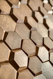 Wooden wall textured with hexagon Royalty Free Stock Image