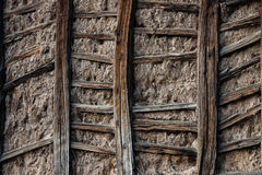 Wooden wall. A traditional way of building wall of houses in the north of Spain with wood and mud Stock Images