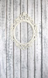 Wooden wall with  vintage frame. Wooden wall with white vintage frame Royalty Free Stock Photography