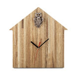 Wooden wall watch - Owl clock isolated on white Royalty Free Stock Photo