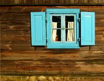 Wooden wall with window Stock Photo