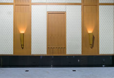 Wooden walls and door frames of background. Stock Images