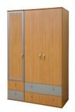 Wooden wardrobe. Modern wooden wardrobe on a white background Royalty Free Stock Photos